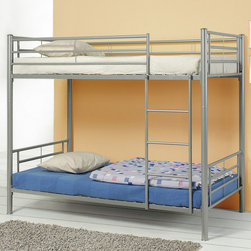 Coaster - 460072 Twin/Twin Bunk Bed - Silver - This lovely contemporary bunk bed will be a nice addition to the youth bedroom or spare bedroom in your home. Make the most of your space with this silver sleek bunk, featuring round metal tube construction. Side guard rails will keep your child safe as they sleep on the top bunk, and an attached ladder makes it easy to get up and down.