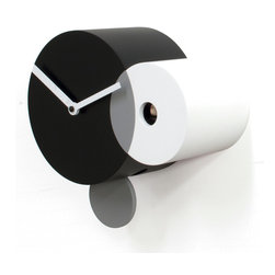 Progetti - Kandinsky Black/White Wall Clock - Kandinsky 2160Wall-Mounted Cuckoo Clock in Black/White, Battery Quartz Movement, Made of Wood, with Light Sensor, Made in Italy