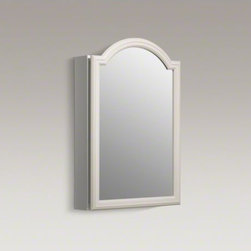 """KOHLER - KOHLER Devonshire(R) 20"""" W x 29-1/2"""" H White enameled aluminum single-door medic - Showcasing an elegant, streamlined design, this medicine cabinet features an arched door with right-hand hinge. Mirrors are positioned on the front and back of the door, as well as the interior back of the cabinet. Two adjustable glass shelves hold your t"""