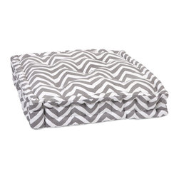 iMax - iMax Grey Chevron Floor Cushion X-84068 - This functional floor cushion features a fun grey chevron print fabric with tufted details.
