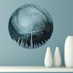 My Wonderful Walls - Indigo Ice Forest Wall Sticker - Nature Art by Elise Mahan, Small - - Product:   winter ice storm in blue and white