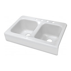 "Lyons - Lyons Deluxe DKS01AP-3.5 Acrylic Kitchen Sink - Lyons Industries Designer Apron Front white acrylic kitchen sink with two equal 10"" deep sink bowls. This 34""X23"" sink has an attractive and functional integral front apron to provide a clean and traditional look to any kitchen. This sturdy sink has durable easy to clean high gloss acrylic construction with a fiberglass reinforced insulation backer. This sink is quiet and provides a superior heat retention than other sink materials meaning your dish water stays warm longer. Lyons sinks come with a simple mounting tab and clip system to firmly fasten the sink to the countertop and reinforced drain areas for safely supporting a garbage disposal. Detailed installation instructions include the cut-out specifications. Lyons sinks are proudly Made in America by experienced artisans supporting our economy."