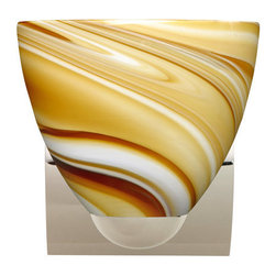 Besa Lighting - Besa Lighting 1WZ-7572HN Sasha 1 Light Bathroom Sconce - Sasha II has a classical bell shape that complements aesthetic, while also built for optimal illumination. This unique decor is handcrafted, with layered swirls of yellow-amber and golden-brown against white, finished to a high gloss. It's classic swirl pattern and high gloss surface has a truly florid gleam. Honey is a hand-blown glass designed to have a shiny and polished finish. The glass is gathered and rolled into shape a unique pattern is formed that cannot be replicated. This blown glass is handcrafted by a skilled artisan, utilizing century-old techniques passed down from generation to generation. Each piece of this decor has its own unique artistic nature that can be individually appreciated. The minis once fixture is equipped with a sleek arcing die cast lamp holder and matching radiused rectangular canopy.Features: