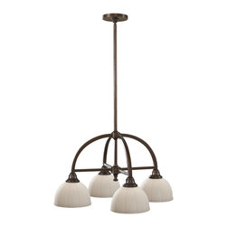 Murray Feiss - Murray Feiss Perry Pendant Chandelier in Heritage Bronze - Shown in picture: Perry Chandelier in Heritage Bronze finish with White Opal Etch �Glass