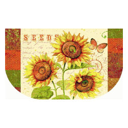 Mohawk Home - Mohawk New Wave Kitchen Sunshine Seeds Goldenrod Transitional Kitchen 1'8 x 3'9 - This delightful sunflowers kitchen rug is full of character and charm. It will add sunshine and warmth to your home. Variety of sizes allows for decorating convenience.  Printed on the same machines that manufacture one of the world