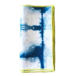 Alanah Textiles - Indigo Shibori Napkins with Neon Trim, Indigo, Set of 4 - Made of a cotton/linen blend.
