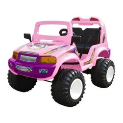 Electric Off Roader Riding Toy - For the kids who don't plan on settling down just because they turned 5, this heavy-duty Off-Roader Riding Toy has everything needed to handle everything your backyard or local park can throw at it. And should it run across something it cannot pass (which may happen), there is always the reverse switch. With a top speed of 5 mph, you'll easily keep up on the sidewalk or in the grass. This model also features a windshield, side view mirrors, music button, headlight, forward/reverse switch, high/low switch, and a seat belt. Anything tougher and they'd need a driver's license. Weight capacity: 110 pounds Weight: 59 pounds Two 6V DC motors Includes 12V charger; charges in about 10 hours Recommended for children 5 to 9 years old