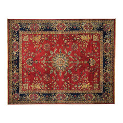 """Oriental Rug Galaxy - 8'1"""" x 10'2"""" New Zealand Wool Red Sarouk 300 kpsi Handmade Oriental Rug - Our fine Oriental hand knotted rug collection consists of 100% genuine, hand-knotted and hand-woven rugs from Persia, China, and other areas throughout Asia. Classic, traditional, and offered in a wide range of elaborate designs, every handmade rug is guaranteed to serve as a beautiful and striking element in any interior setting."""