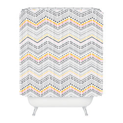 DENY Designs - Heather Dutton Dash And Dot Neapolitan Shower Curtain - Who says bathrooms can't be fun? To get the most bang for your buck, start with an artistic, inventive shower curtain. We've got endless options that will really make your bathroom pop. Heck, your guests may start spending a little extra time in there because of it!