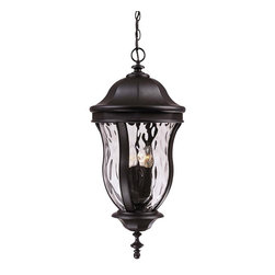 Karyl Pierce Paxton - Karyl Pierce Paxton KP-5-306-BK Monticello Transitional Outdoor Hanging Lantern - A celebrated Savoy House family finished in Walnut Patina with Clear Watered glass.