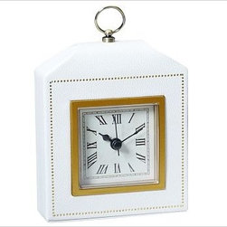 """Abott Alarm Clock, White - A soft case with the look of pebbled leather and trimmed with brass and gold-foil details houses our Abbott Clock. 4.5"""" wide x 1.75"""" deep x 5.5"""" high Made of faux leather over a plastic frame. Gold foil details. Plexiglas cover is framed with brass trim. Paper face has Roman numerals. Features metal hands, including second hand. Brass loop handle on top. Requires one AA battery (not included)."""