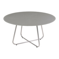 """Mama Green - Gemmy Casual Table, Taupe, 120"""" - The Gemmy dining series combines an interwoven rounded base with varying sizes in round tops. Frames can be done in stainless steel or powder coated aluminum and table tops can be done in acid etched colored glass or FSC certified reclaimed teak."""