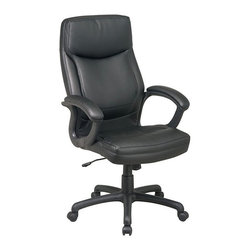 Office Star - Office Star Executive High Back Eco Leather Chair with Locking Tilt Control - Office Star - Office Chairs - EC6583EC3 - The Office Star Executive high back chair upholstered in attractive Eco Leather is the perfect addition to your office space. With one touch pneumatic height adjustment built-in lumbar support locking tilt and tension controls this chair adapts to you. With a padded and contoured seat and back you'll find a seat that is as comfortable as it is supportive. Get comfy get working.