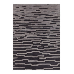 Surya - Surya Harlequin HQL-8019 (Coal Black, Dove Gray) 8' x 10' Rug - With innovative designs and abstract color schemes, Surya has done it again. The Harlequin collection is a unique blend of the expert understanding of modern fashion, contemporary color schemes, and traditional elegance. Spicing up your home with the avant garde hand tufted rug will easily convert any room into a contemporary masterpiece. Alluring, enhancing, and divine this piece is sure to bring comfort and pizzazz to your happy home.