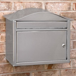 Kenton Locking Wall-Mount Stainless Steel Mailbox - A modern design style combines with stainless steel durability in the Kenton Locking Wall-Mount Stainless Steel Mailbox for a premium mailbox that will last for years. The oversized incoming mail slot accepts magazines, DVDs and more.