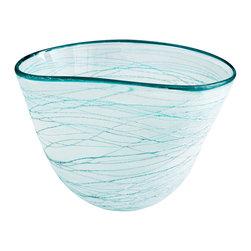 Cyan Design - Cyan Design 06703 Green and White Large Swirly Bowl - Cyan Design 06703 Green and White Large Swirly Bowl