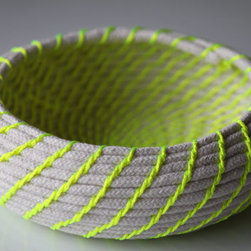 Upcycled Natural & Neon Rope Basket, Yellow, Small by Find Your Happy - Here's just a touch of neon in case you aren't feeling too risky.