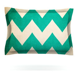 "Kess InHouse - Catherine McDonald ""2013"" Teal Chevron Pillow Sham (Cotton, 40"" x 20"") - Pairing your already chic duvet cover with playful pillow shams is the perfect way to tie your bedroom together. There are endless possibilities to feed your artistic palette with these imaginative pillow shams. It will looks so elegant you won't want ruin the masterpiece you have created when you go to bed. Not only are these pillow shams nice to look at they are also made from a high quality cotton blend. They are so soft that they will elevate your sleep up to level that is beyond Cloud 9. We always print our goods with the highest quality printing process in order to maintain the integrity of the art that you are adeptly displaying. This means that you won't have to worry about your art fading or your sham loosing it's freshness."