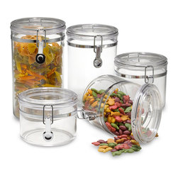 Oggi - Oggi Acrylic 5-Piece Canister Set - There's always an item or two that you use every day, so why not display them in these containers on the counter? They are cute and versatile.