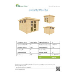 Sunshine 10 x 10 Wood Shed / Pool House - ECO Garden Sheds. All natural wood 10 x 10 Modern pool house/ wood garden shed -- Sunshine. Brochure.