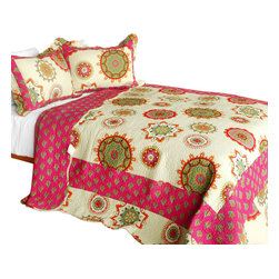 Blancho Bedding - Children of Heaven 3PC Cotton Contained Patchwork Quilt Set  Full/Queen Size - Set includes a quilt and two quilted shams (one in twin set). Shell and fill are 100% cotton. For convenience, all bedding components are machine washable on cold in the gentle cycle and can be dried on low heat and will last you years. Intricate vermicelli quilting provides a rich surface texture. This vermicelli-quilted quilt set will refresh your bedroom decor instantly, create a cozy and inviting atmosphere and is sure to transform the look of your bedroom or guest room. Dimensions: Full/Queen quilt: 90 inches x 98 inches  Standard sham: 20 inches x 26 inches.