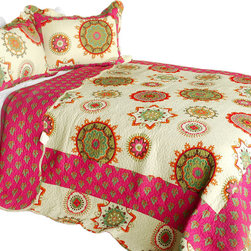 Blancho Bedding - [Children of Heaven] 3PC Cotton Contained Patchwork Quilt Set (Full/Queen Size) - Set includes a quilt and two quilted shams (one in twin set). Shell and fill are 100% cotton. For convenience, all bedding components are machine washable on cold in the gentle cycle and can be dried on low heat and will last you years. Intricate vermicelli quilting provides a rich surface texture. This vermicelli-quilted quilt set will refresh your bedroom decor instantly, create a cozy and inviting atmosphere and is sure to transform the look of your bedroom or guest room. Dimensions: Full/Queen quilt: 90 inches x 98 inches  Standard sham: 20 inches x 26 inches.