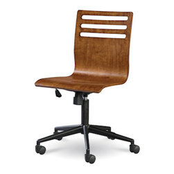 Universal - Smart Stuff - Classics 4.0 Saddle Brown Swivel Desk Chair - Doing homework is a lot more fun when you're sitting in the Swivel Desk Chair by Universal Furniture. Coated in a Saddle Brown finish and styled with sleek, modern lines, this graceful desk chair has all the features necessary to keep your child at attention and on task. The adjustable height and tilting seat are a great aspect of this piece, making it easy to manage comfort. Sitting atop five castered legs, this quality piece is the perfect brown desk chair to complete your child's workspace.