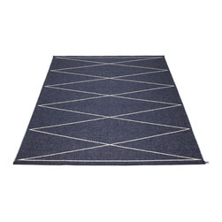 Pappelina - Max Dark Blue & Vanilla Rug - This outdoor rug from Pappelina contains a basic geographic pattern. It uses PVC-plastic and polyester-warp to give it ultimate durability and clean-ability. Great for decks, bathrooms, kitchens and kid's rooms.