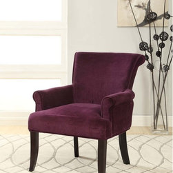 Linon - Linon Calla Dark Purple Fabric Accent Chair - Chic and stylish,the Linon Calla Chair has a sleek,curvy design that will add elegance to your home. The dark purple microfiber upholstery is accented by dark espresso legs. The ultra plush seat and back adds long-lasting comfort to the piece.