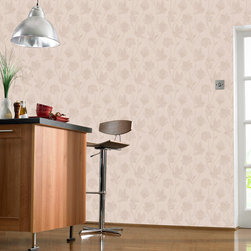 Graham & Brown - Elegance Wallpaper - Elegant flowing floral trail of flowers and birds with metallic mosaic textures