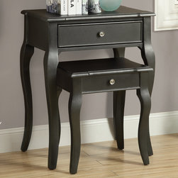 Monarch - Antique Black Veneer 2Pcs Nesting Table Set - An elegantly designed 2 piece set with a distressed antique-look black nesting tables featuring drawer storage and soft curved legs. A beatiful addition to any room in your home.