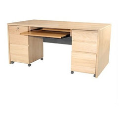 Rush Furniture - Modular Real Oak Wood Veneer Panel Executive Desk Keyboard Tray - It's thick panels, strong construction, and durable finish make it ideal in for use in a commercial environment. Clean classic lines and an attractive real wood veneer finish work well with any interior. Features: -Panel Keyboard Tray.-Pullout keyboard shelf on metal hardware.-Great addition to a home office or large corporate site.-Comes ready to assemble.-Modular Real Oak Wood Veneer collection.-Designed to expand the functionality of all standard-sized desks in the Veneer Office collection, this handy little keyboard shelf will make your work area more efficient and attractive. This pullout rides on all metal hardware and is furnished in premium real wood veneer. Please see the desks in this collection for combination ideas..-Item includes the keyboard tray, not the entire desk.-Distressed: No.-Drawers: 5.Dimensions: -Overall dimensions: 4.5'' H x 30.62'' W x 17.25'' D.-Overall Product Weight: 17 lbs.Warranty: -Comes with 5-year warranty against manufacturer defects.
