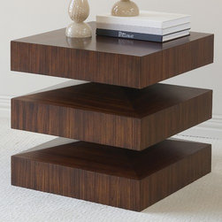 Global Views - In and Out End Table - Set apart your home d cor with the dynamic In and Out End Table! Crafted with quality zebra wood veneer and accented with a warm brown fine finish rubbed by hand, this end table will utterly steal the spotlight! The table top allows functionality to take over, letting you display anything from candle holders to books and vases. With a striking look and trendy appeal, this end table brings to your home a dose of stylish thrill! Features: -Handcrafted design.-Made out of zebra wood veneer.-end table exudes dynamic design and modern appeal.-Flat top surface allows for display of small decorative items.-Table is finished on all sides.-Features a warm brown fine hand rubbed finish.-Draw Attention collection.-Did you know that...Global Views has always been enviromentally awareGlobal Views has been committed to 100% natural productsNo products contain resin and endangered species of wood are not usedGlobal Views only uses natural materials and recyclable packaging.-Collection: Draw Attention.-Distressed: Yes.Dimensions: -Overall Dimensions: 23.25'' H x 23.5'' W x 23.5'' D.-Overall Product Weight: 115 lbs.