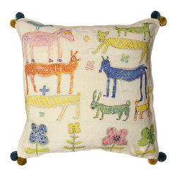 Kathy Kuo Home - Colorful Animals Children's Room Flowers Linen Down Throw Pillow - Color and childlike whimsy create this cute cushion perfect for kids — or those who are kids at heart. The folksy animals and flowers are hand-printed on 100 percent linen and embellished with plush corner pom-poms for added fun.