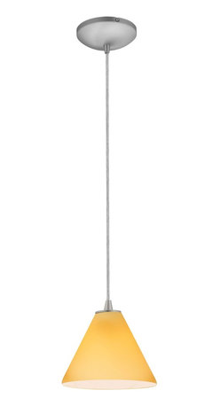 Access Lighting - Access Lighting 28004-2C-BS/RED Tali Inari Silk 18W CFL Contemporary Cord Mini P - Charming cone shaped glass provides a subtle twist on everyday lighting in a variety of finishes for any setting.