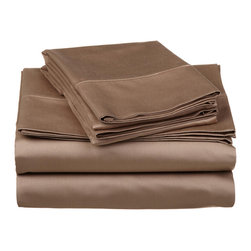 "530 Thread Count Egyptian Cotton California King Taupe Solid Sheet Set - Our 530 Thread Count Sheet Set offers the ultimate softness of a lower thread count. They are composed of premium, long-staple cotton and have a ""Sateen"" finish as they are woven to display a lustrous sheen that resembles satin. Set includes: (1) Fitted 72""x84"", (1) Flat 108""x102"", (2) Pillowcases 20""x40"" each."
