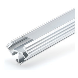 Klus B5391 - ECO series Corner Mount Aluminum LED Profile Housing, TAN-C5 - TAN-C5 series corner mount sturdy aluminium LED housing. Corner design for aesthetic 45 degree mounting solutions. Fits flexible LED strips or rigid LED light bars under 10.8mm wide. Measures 26.8mm (W) x 18.4mm (H) x 1000mm (L)- 39.4 inches long. Includes diffused lens cover.