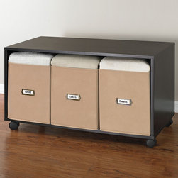 3-Drawer Storage with Bench - Get organized! This sleek storage bench doubles as a three-drawer organizer. It also has wheels to make it easy to move.