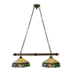 """Meyda Tiffany - 37""""L Green Billiard 2 Lt Island Pendant - Rack em up! This two light island fixture features stained glass shades with stripes, solids and a cue ball on a Honey Beige shade with Root Beer accents and a Burgundy skirt. The hardware is hand finished in Mahogany Bronze."""