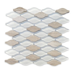 Iota Fleur De Sel Glass and Marble Tile - Polished and frosted glass tiles blend together in a wave-like pattern with Athens Gray tiles crafted from natural stone. This mesh-backed square can be installed as a whole or separated into individual pieces, allowing you to create a design that's as unique as you are.