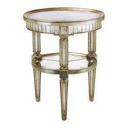 John Richard - John Richard Round Eglomise Table EUR-03-0311 - Antiqued aged mirrors on top, shelf and rim.
