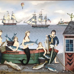 Mermaids By Ralph Cahoon  (1910-1982) - Original Oil by Folk Art Painter Ralph Cahoon  (1910-1982) Cape Cod Fish Company (Bass And Blues )