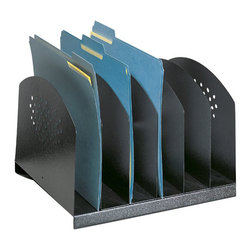 Safco - Safco Black Six Sections Steel Desk Rack - Safco - Desktop Organizers - 3155BL - This steel desk file rack can help increase efficiency by neatly storing and organizing the file folders and paperwork cluttering up most work areas. Three styles in a variety of sizes provide the flexibility to choose the right organization for the job. Decorative contemporary design on end and front panels works well with any decor. Rubber feet protect work surfaces.