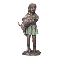 Randolph Rose Collection - I Love My Puppy - Bronze Sculpture of a Little Girl Holding Her Puppy Dog. Statue is Featured at Parks, Homes, Gardens, Dog Facilities, Pet Cemeteries, Schools and Libraries