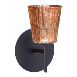 BESA Lighting - BESA Lighting 1SW-5125CF Nico 1 Light Halogen Bathroom Sconce - Nico 4 features a tapered drum shape that fits beautifully in transitional spaces. Our Stone Copper Foil glass is a clear blown glass with an outer texture of coarse sandstone, with distressed metal foil hand applied to the inside. Inspired by the elements of nature, the appearance of the surface resembles the beautiful cut patterning of a rock formation. This blown glass is handcrafted by a skilled artisan, utilizing century-old techniques passed down from generation to generation. Each piece of this decor has its own artistic nature that can be individually appreciated. The mini sconce is equipped with a decorative lamp holder mounted to either a low profile round or square canopy.Features:
