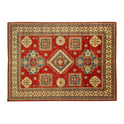 """Manhattan Rugs - Oriental Rug Fine Kazak Wool 10' 8"""" X 14' 2"""" Hand Knotted Tribal Design Rug S490 - The areas known as kazakhstan, chechnya and shirvan, respectively, are situated north of iran and afghanistan and to the east of the caspian sea and are all new soviet republics. these rugs are woven by settled armenians as well as nomadic kurds, georgians, azerbaijanis and lurs.  many of the people of turkoman origin fled to pakistan when the russians invaded afghanistan and most of the rugs are woven close to peshawar on the afghan-pakistan border. there are many design influences and consequently a large variety of motifs of various medallions, diamonds, latch-hooked zig-zags and other geometric shapes. however, it is the wonderful colors used with rich reds, blues, yellows and greens which make them stand out from other rugs. the ability of the caucasian weaver to use dramatic colors and patterns is unequalled in the rug weaving world.  these rugs are very hard-wearing, as well as being very collectible."""