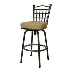 """Pastel Furniture - Bay Point Outdoor Barstool - The Bay Point 30"""" height outdoor swivel barstool with aluminum frames with cast aluminum back upholstered in Sunbrella fabric. This beautifully designed outdoor barstool with its engaging mix of color and texture will take your outdoor living to a whole new place."""
