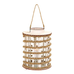 Benzara - Unique Rope Extension Wooden Glass Lantern with Rustic Finish - The uber stylish and superior looks of this wooden and rope lantern is a must have for your home decor. The vibrant and cheery appearance of these lanterns when lightened in a row gives it a distinguished look. It has a wooden and rope build which gives it a wonderfully unique and old-world look in design approach. The colored combination of textures makes it perfect to be put in a variety of uses. Like for an example, you can light a scented candle inside the lantern to spread a rush of calming freshness across your perturbed senses. Originated in China, this wood and rope lantern is made from quality materials that give it a strong build which can take rough use in its pride. It comes with a dimension of 14 in.  H x 10 in.  W x 10 in.  D.