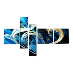 Matthew's Art Gallery - Metal Wall Art Abstract Modern Contemporary Sculpture Large Home Decor Blue Wave - Name: Blue Wave