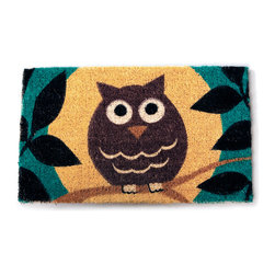 Entryways - Wise Owl Hand Woven Coconut Fiber Doormat - Single Doormat, hand-woven, hand-painted, hand-stenciled, fade resistant, natural coir (coconut fiber), durable, best location is covered area, shake or sweep clean.